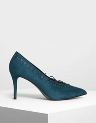 Charles And Keith Lacing Detail Pumps Teal