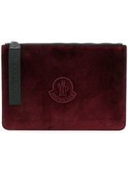 Moncler Logo Zipped Clutch Red