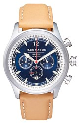 Men's Jack Mason Brand Nautical Chronograph Leather Strap Watch 42Mm Navy Camel