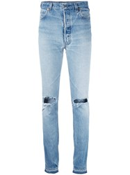 Re Done Distressed Skinny Jeans Women Cotton 25 Blue