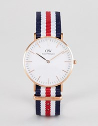 Daniel Wellington Classic Canterbury Watch With Canvas Strap 36Mm Red