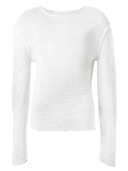 Isabel Benenato Dropped Shoulder Knit Jumper White