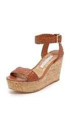 Diane Von Furstenberg Montclair Wedge Sandals British Tan Solid