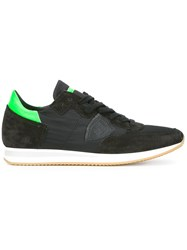 Philippe Model Neon Detailing Lace Up Sneakers Black
