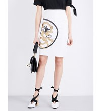 J.W.Anderson Dancing Wolves Leather Pencil Skirt White