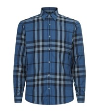 Burberry Crawfords House Check Shirt Male Blue