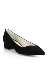 Giorgio Armani Asymmetrical Suede Low Pumps Black