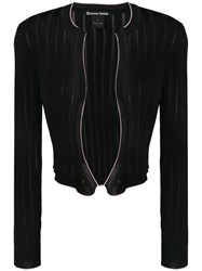 Pinko Cropped Ribbed Knit Cardigan Black