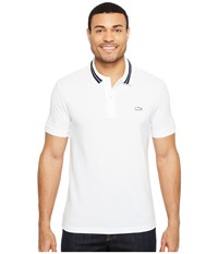 Lacoste Short Sleeve Semi Fancy Stretch W Rubber Croc Regular Fit White Navy Blue Men's Clothing