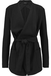 Joseph Belted Draped Crepe Coat Black