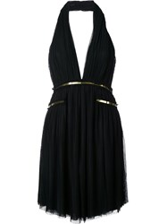 Jay Ahr Gold Tone Detail Halterneck Dress Black