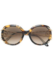 Elie Saab Tortoiseshell Oversized Logo Sunglasses Brown