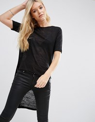Jdy Margie Hi Low T Shirt Black