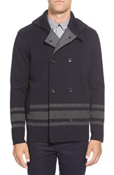 Men's Vince Stripe Wool Peacoat
