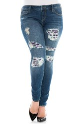Slink Jeans Plus Size Women's Ripped Floral Patch Skinny
