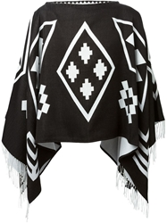 Marcelo Burlon County Of Milan Graphic Print Poncho Black