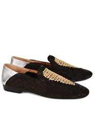 Robert Clergerie Black Straw Woven Loafers