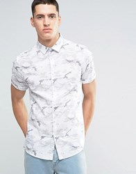 Asos Camo Shirt In Grey With Short Sleeves In Regular Fit Grey
