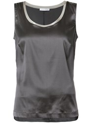 Fabiana Filippi High Low Tank Top Women Silk Spandex Elastane 44 Grey