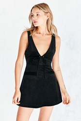 Capulet Roxy Tie Front Corduroy A Line Mini Dress Black