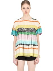 Maurizio Pecoraro Stripe Printed Cotton And Silk Top