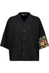 Y 3 Paneled Cotton Jersey Shirt Black