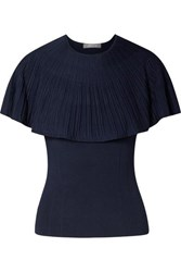 Lela Rose Cape Effect Stretch Knit Top Navy