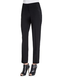 Elie Tahari Jullian Ankle Pants W Lace Detail Black