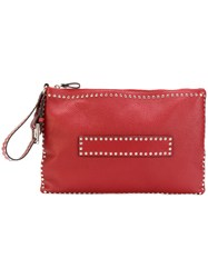 Red Valentino Studded Zip Pouch Women Leather Metal One Size Red