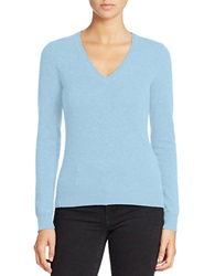 Lord And Taylor Basic V Neck Cashmere Sweater Blue Coast