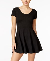 Planet Gold Juniors' Textured Fit And Flare Dress Black