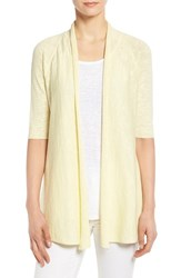 Women's Eileen Fisher Organic Linen And Cotton Elbow Sleeve Straight Cardigan Daisy