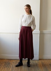 Blue Blue Japan Rayon Twill Piped Pocket Flared Skirt Burgundy