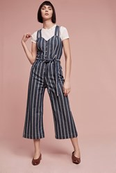 Anthropologie 7 For All Mankind Striped Jumpsuit Blue Motif