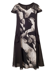 Chesca Abstract Print Chiffon Lined Dress Black And Ivory