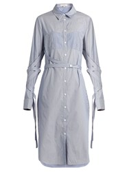 Tibi Sleeve And Waist Tie Striped Cotton Shirtdress Blue White