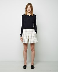 Proenza Schouler Windowpane Pleated Short