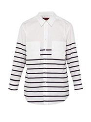 Sies Marjan Kyan Striped Cotton Poplin Shirt White Navy