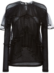 Givenchy Tiered Sheer Blouse Black