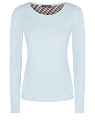 Aquascutum London Tansy Long Sleeve Jersey Branded Tee Light Blue