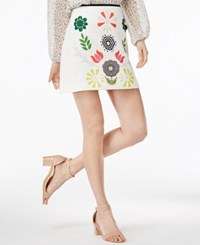 Cynthia Rowley Cr By Printed Mini Skirt Only At Macy's White Placed Floral