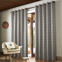 Orla Kiely Jacquard Stem Eyelet Curtains Grey