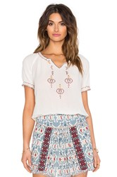 Hoss Intropia Embroidered Peasant Top Cream