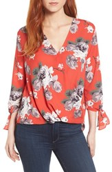 Everleigh Surplice Neck Top Red Floral