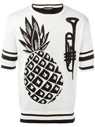 Dolce And Gabbana Pineapple Intarsia Knit Top White
