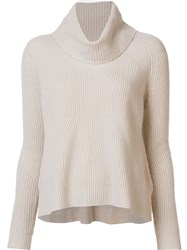 Alice Olivia Cable Knit Roll Neck Jumper Nude And Neutrals