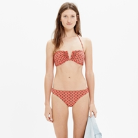 Madewell V Wire Bandeau Bikini Top In Desertleaf