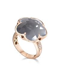 Pasquale Bruni 18K Rose Gold Floral Ring With Gray Agate And Diamonds Gray White