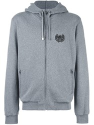 Dolce And Gabbana Embroidered Crown Zip Hoodie Grey