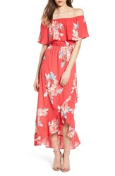 Mimi Chica Off The Shoulder Maxi Dress Red Floral